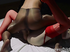 Strap dildo hookup with a..