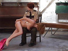 Girly-girl cop sploogs hooker